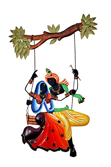 buy indoroots radha krishna under jhula wall hanging online at low