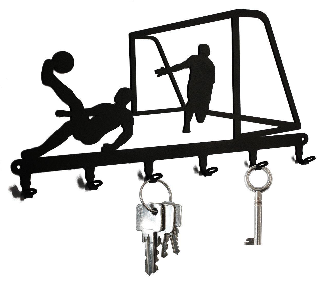 Key holder / hook Soccer Game - key hooks for wall, hanger - 6 hooks black metal