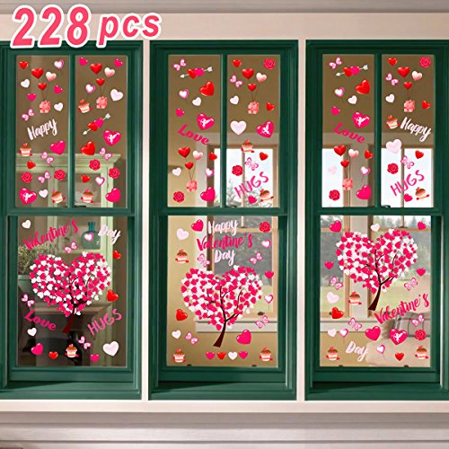 Ivenf 4ft x 4ft Extra Large Heart Valentine's Day Window Clings Decorations, Kids School Home Office Valentines Hearts Accessories Birthday Party Supplies Gifts, Pink Set Holiday Wreath Large Window