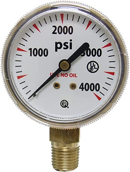 16 Pack 1 1//2 in Welding//Compressed Gas Gauge 4,000 psi 1//8 in-27 NPT Polished Brass