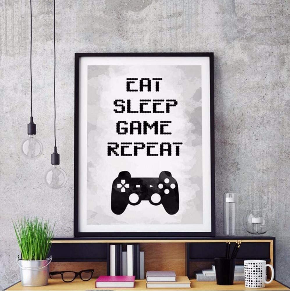 Painted Canvas sign Eat sleep game repeat gamer gift