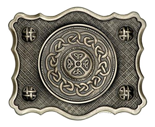 Art Pewter Stunning Kilt Buckle With Celtic Knot Scalloped Design in an Antique Finish