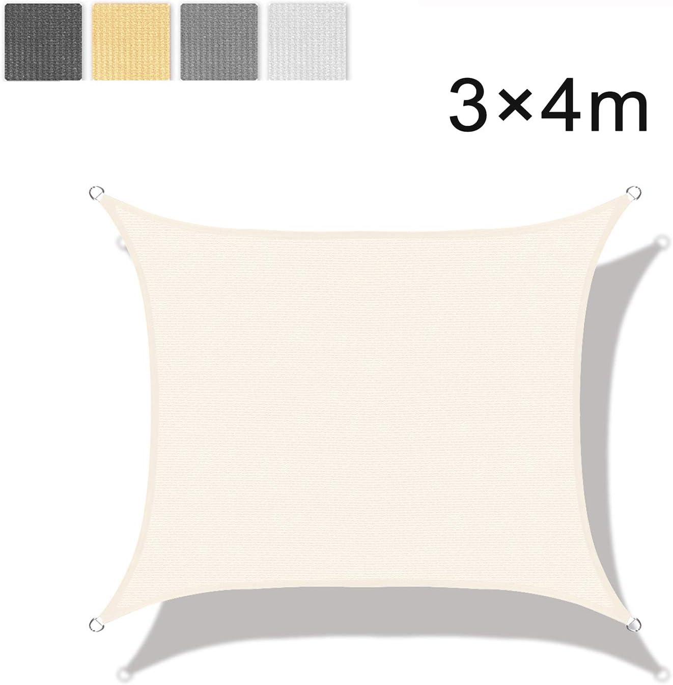 HDPE LOVE STORY Tenda da Vela Parasole Rettangolare 2/×2m Sabbia Protezione UV per Terrazza Campeggio Giardino Esterno