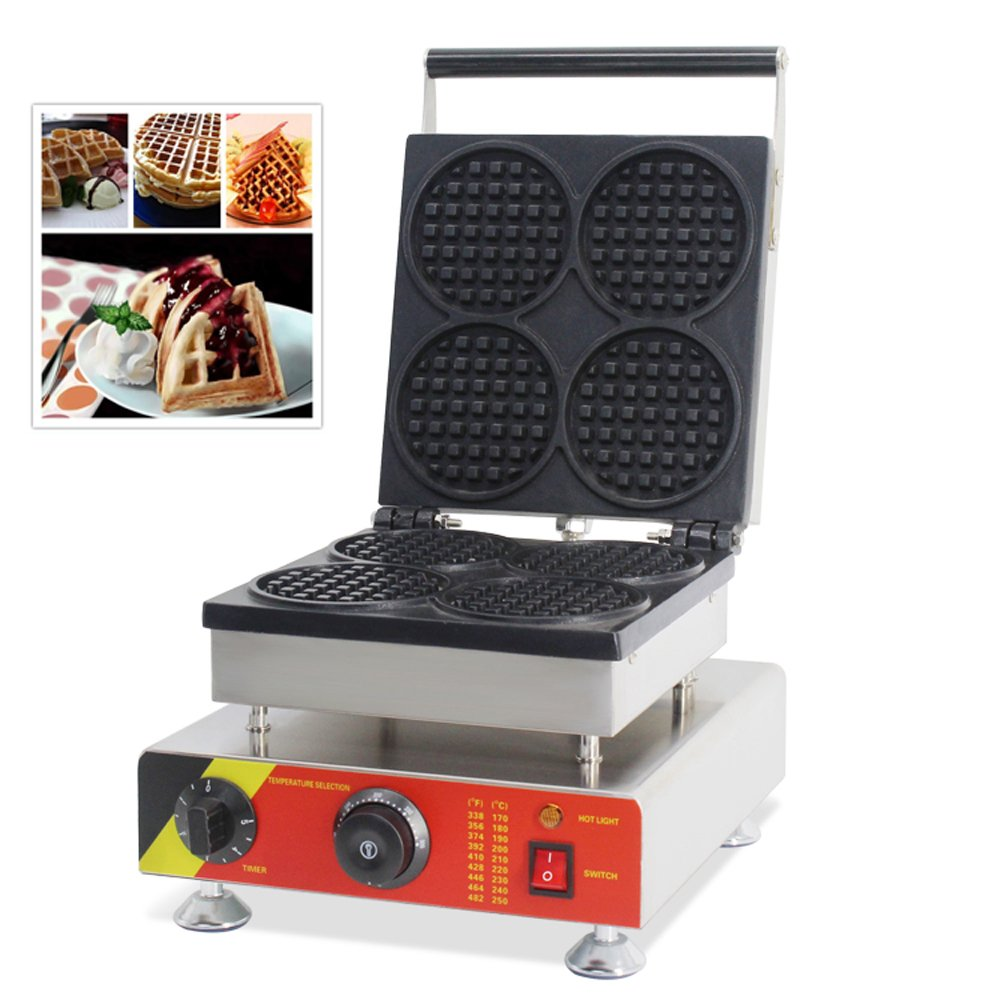 TechTongda 110V Commercial Non-stick Electric 4pcs Belgian Liege Waffle Maker Iron Machine
