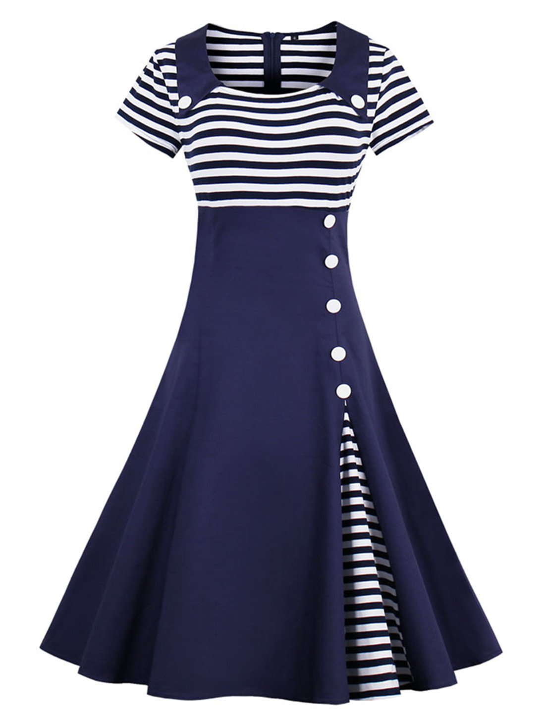 Wellwits Women's Vintage Pin Up A Line Stripes Sailor Dress Navy M by Wellwits