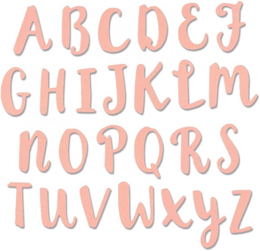 Sizzix Thinlits Troqueles 26PK Abecedario en mayúsculas en caligrafía de pincel