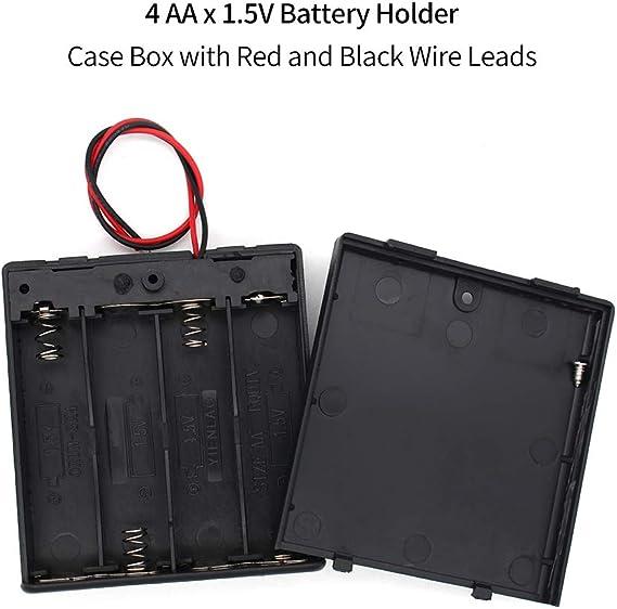 Quadruple Open AA Battery Holder Holds 4 AA Batteries 15cm Lead