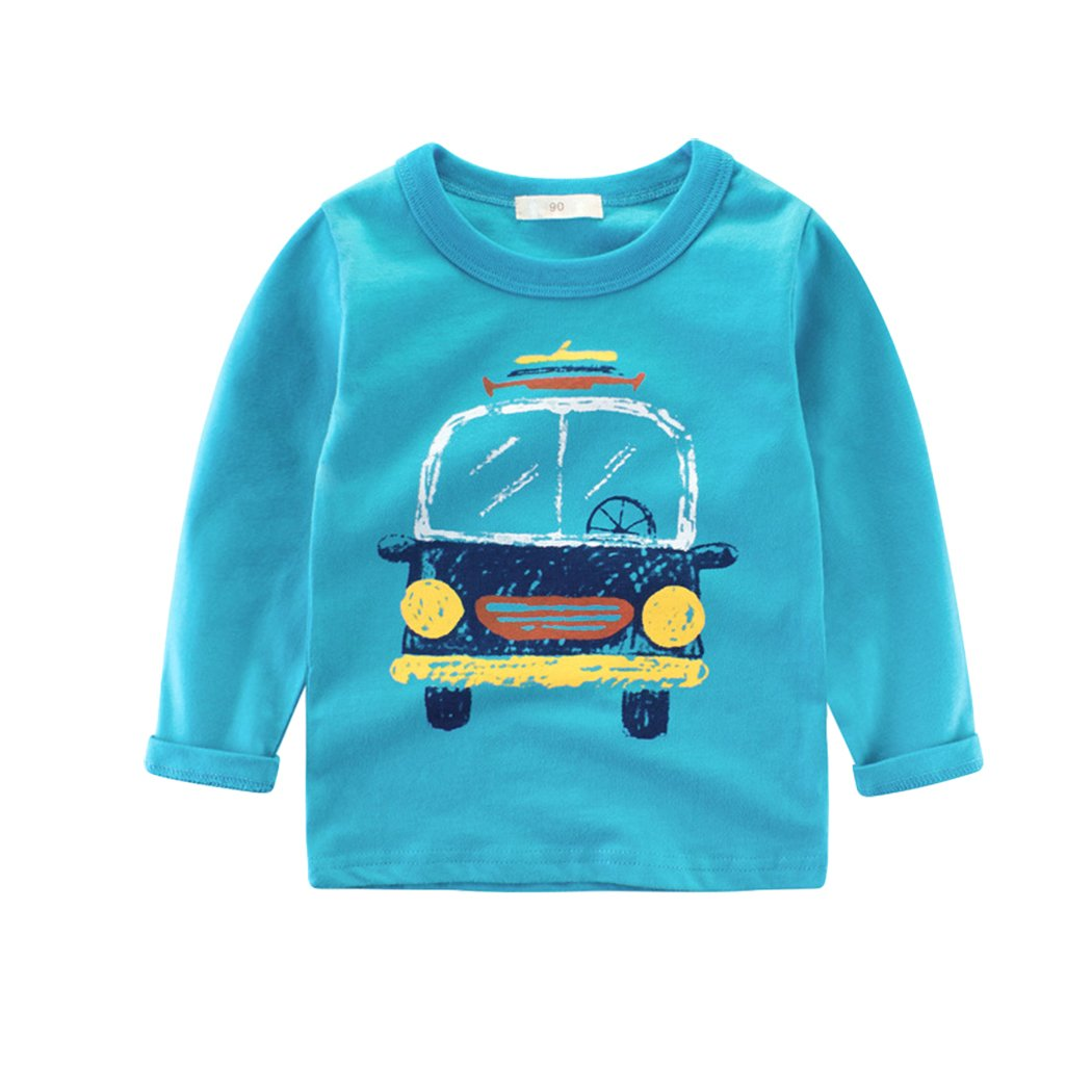 Tkria Little Kids Boys Jumpers Car Long Sleeves Sweaters Sweatshirt Pullover Clothing Shirts Casual Tops Cotton Tee Age 1 2 3 4 5 Years