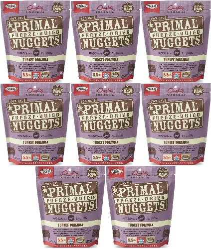 Primal Freeze-Dried Nuggets Turkey Formula for Cats 44oz (8 x 5.5oz) by Primal