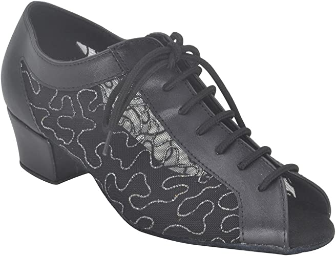 Jig Foo Latin Salsa Rumba Chacha Practice Ballroom Dance Shoes for Women Black