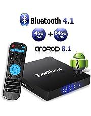 Android 8.1 TV Box, Android Box 4 GB RAM 64 GB ROM, Leelbox Q4 MAX RK3328 Quad Core 64 bit Smart TV Box, Wi-Fi integrato, BT 4.1, Box TV UHD 4K TV, USB 3.0 (4+64G)