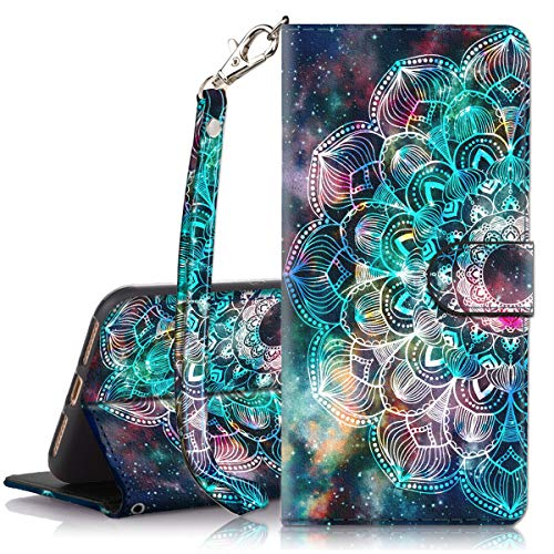 iPhone 8 Plus Case, iPhone 7 Plus Case, Hocase PU Leather Full Body Protective Case with Credit Card Holders, Wrist Strap, Magnetic Closure for iPhone 8 Plus/iPhone 7 Plus - Mandala in Galaxy