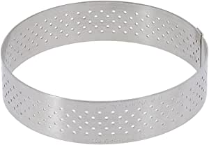 PERFORATED TART RING, Round, in Stainless Steel, 0.75-Inch high O 3-Inch