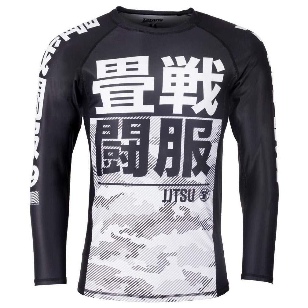 Tatami Rash Guard Essential Camo White//Black Long-Sleeved Mens Rash Guard for Jiu Jitsu Grappling and MMA Compression Shirt with 4-Way Stretch Fitness