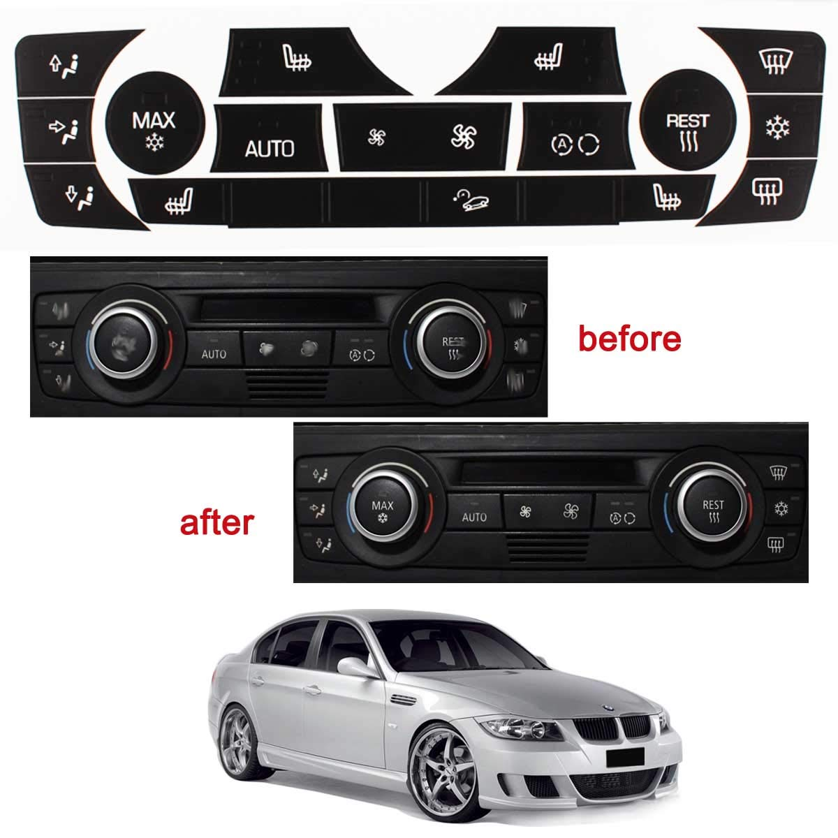 TOMALL AC Control Button Repair Stickers Kit for 2006-2011 BMW 3 Series E90 E92 Replacement Ruined Faded Buttons
