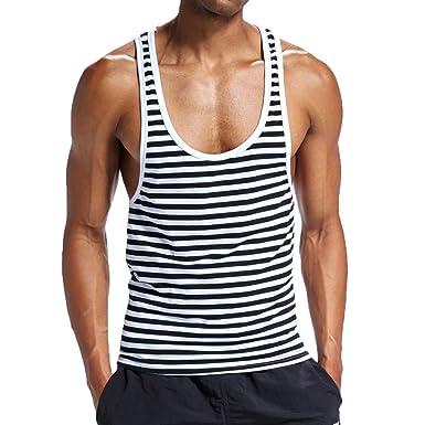 f436c9f0de Amazon.com: Usstore Mens Boys Stripe Sport Vest Cotton Sleeveless Muscle  Loose Bottoming Shirt Tank Tops Gym Run Beach Swimwear: Clothing