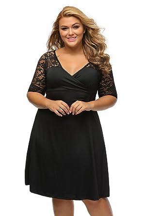 ILFtrend V-Ausschnitt Große Größen Kleid Abendkleid Cocktailkleid ...