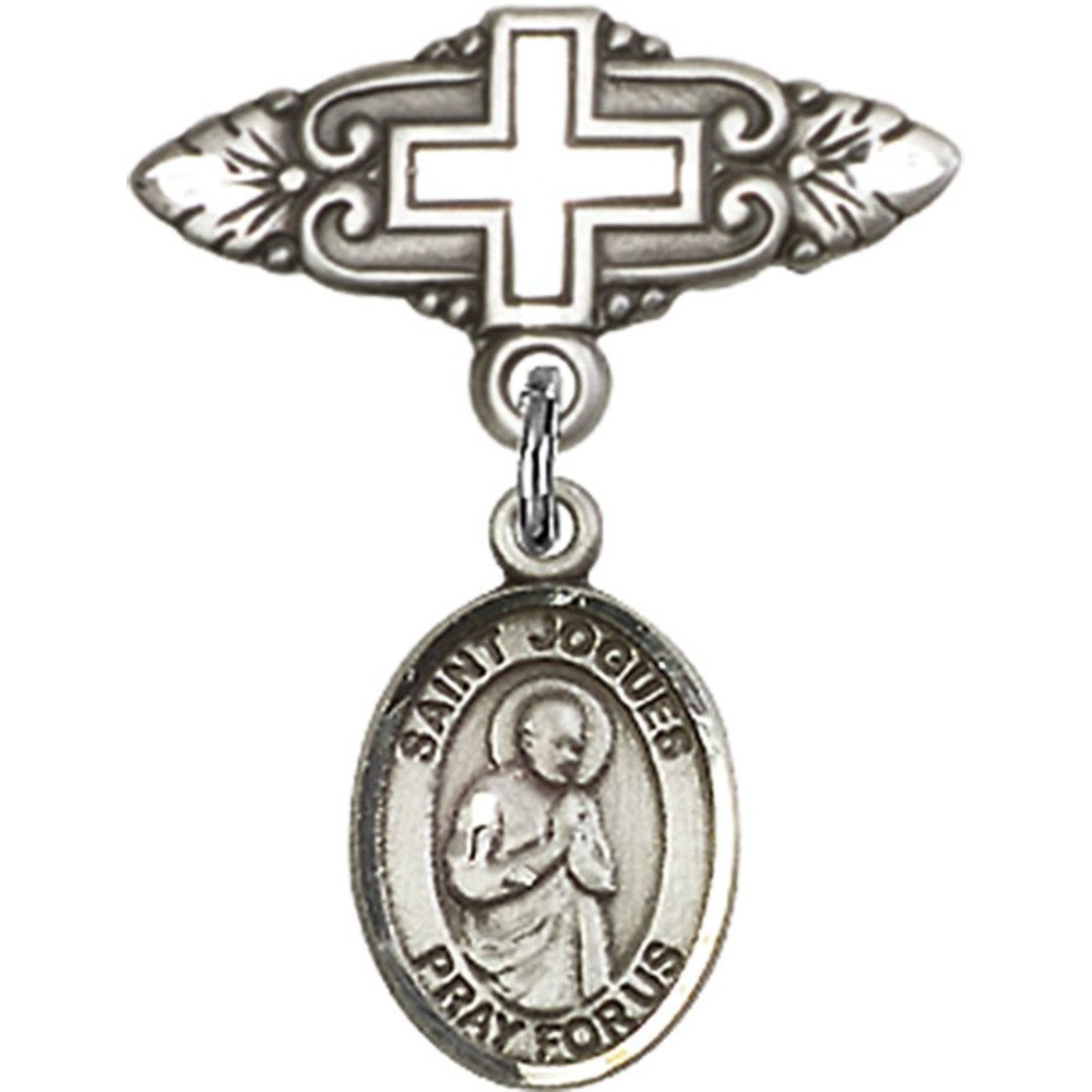Sterling Silver Baby Badge with St. Isaac Jogues Charm and Badge Pin with Cross 1 X 3/4 inches
