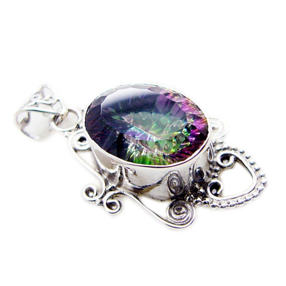 55Carat Mystic Quartz Charms Sterling Silver Bezel Vintage Look Oval Cut Pendant Chakra Healing Handmade Necklace