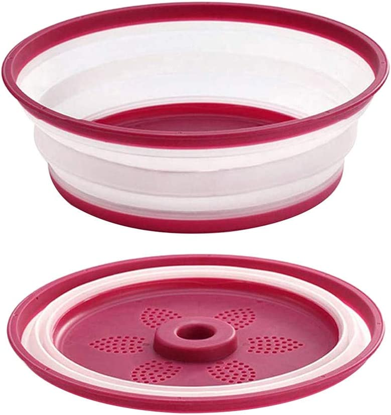 Colander Strainer Red Multifunction Collapsible Microwave Plate Cover Sieve and Container for Washing Fruit Vegetables
