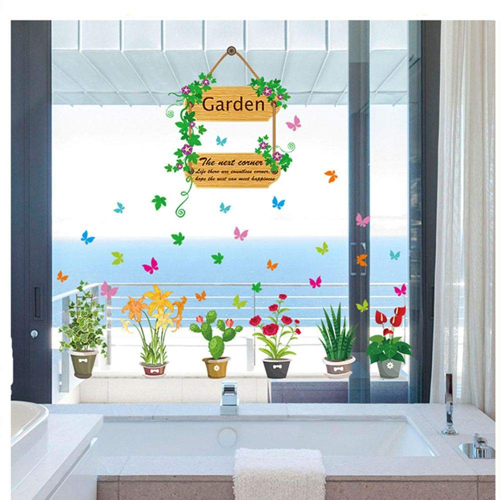 DAWEIF Colorful 3D Birdcage Butterfly Flower Wall Decals DIY Plants Mural Wall Stickers for Living Room Kids Bedroom Nursery Decoration