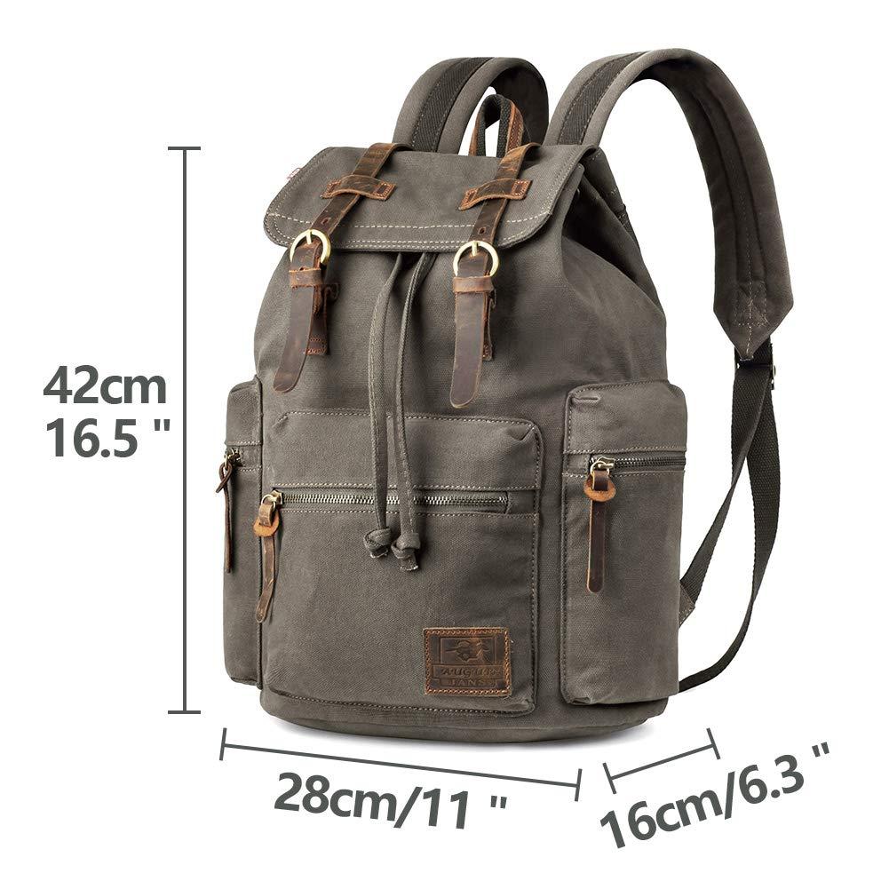 3ac7d68c6d99 VDSL-AUGUR Series Vintage Canvas Leather Backpack Hiking Daypacks Computers  Laptop Backpacks Unisex Casual Rucksack Satchel Bookbag Mountaineering Bag  for ...