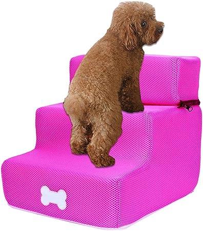 Escalera para perro, gato, 3 peldaños para escaleras de animales, escalera para perros, escaleras extraíbles, con tres niveles, escaleras extraíbles y lavables, para perros, estilo multicolor Ré: Amazon.es: Hogar