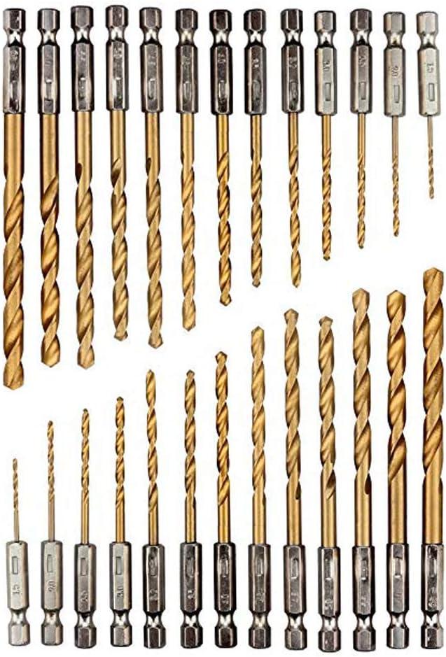 Juego de brocas de titanio de vástago hexagonal 26 piezas, brocas de acero de alta velocidad, acero de alta velocidad de 1,5-6,5 mm, juego de brocas HSS con revestimiento de titanio