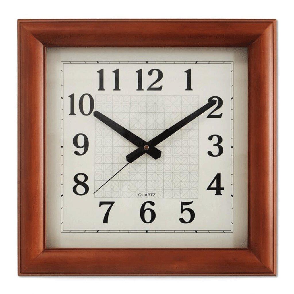 スクエア形状の壁時計クリエイティブウォールクロック木製の壁時計リビングルームクォーツ時計ミュートクロック GAODUZI B07FKQ26HD