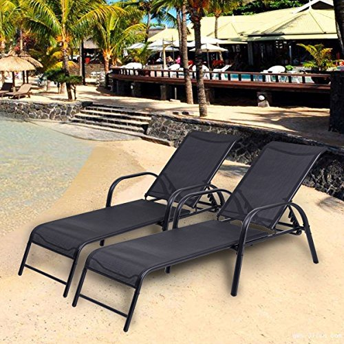 (Costway Set of 2 Patio Lounge Chairs Sling Chaise Lounges Recliner Adjustable Back)
