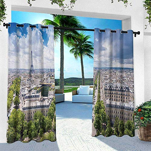 European, Outdoor- Free Standing Outdoor Privacy Curtain,Aerial Paris Eiffel Tower French Heritage Culture Architecture Image, W96 x L84 Inch, Light Blue Cream -