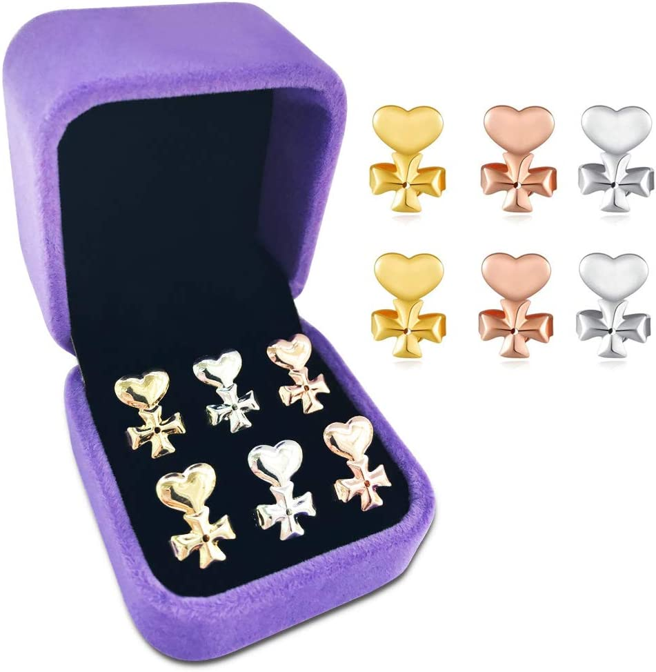 Replacements,Easy to Use Back Earrings for Ear Lobe Lifter,Instantly Lift Earring Backs Clover Magic Earring Lifters,3 Pairs of Adjustable Hypoallergenic Sterling Silver Secure Backings