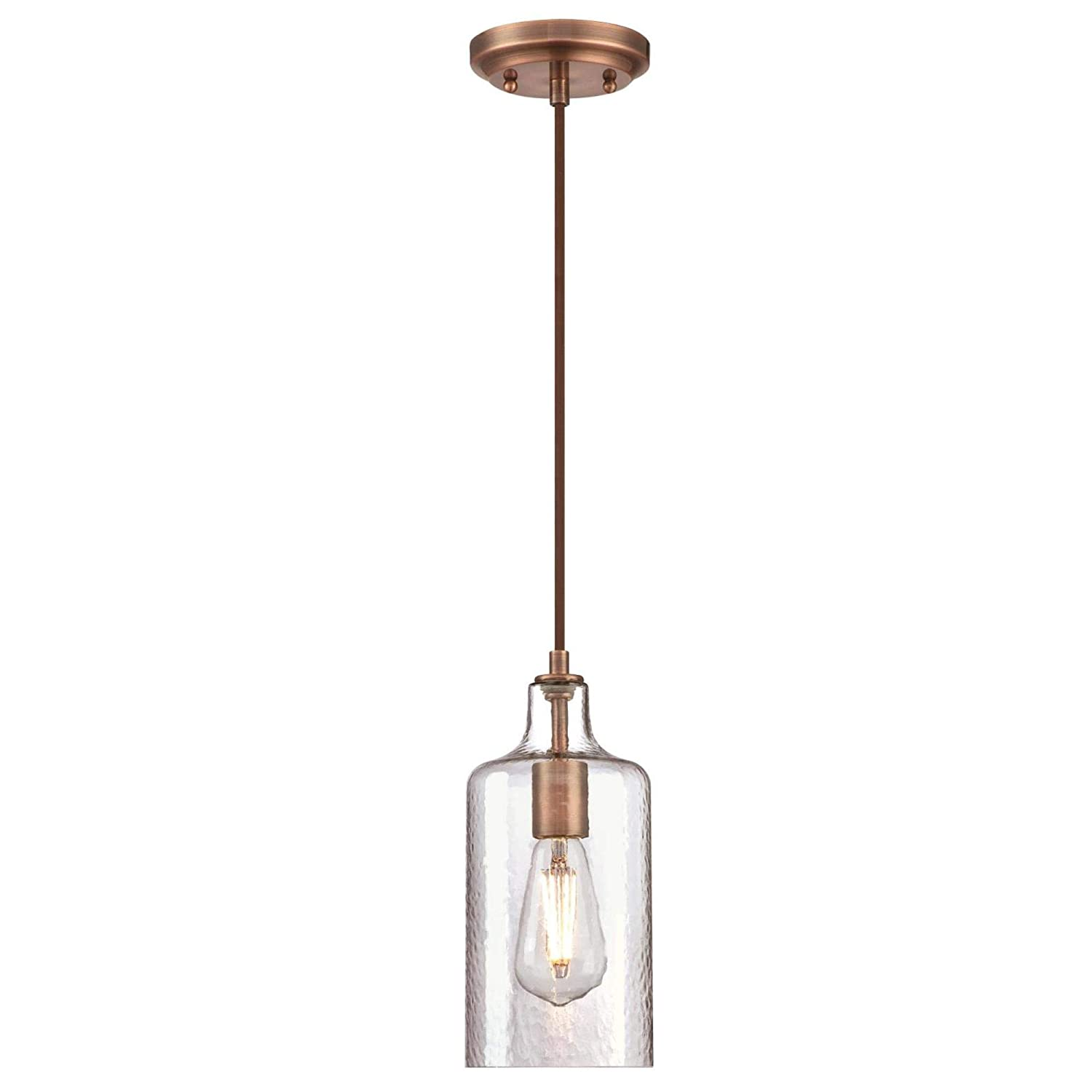 Westinghouse Lighting 6371500 One-Light Indoor Mini Pendant Light Washed Copper Finish with Clear Textured Glass