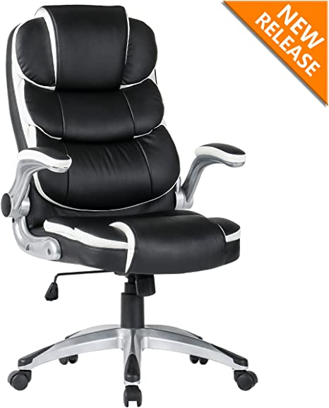 B2C2B Ergonomic Executive Office Chair High Back Black Leather Office Desk  Chairs Modern Racing Chair Adjustable with Flip-up Arms Lumbar Support