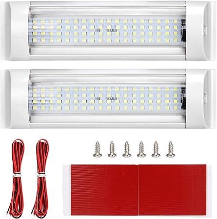 SUPAREE Luces de Techo LED RV de 12 V-80 V, 72 LED Iluminación Interior para RV/Camper/Trailer/Motorhome/Van/Boat Con Interruptor de Encendido/Apagado (2 Unidades + 2 Cables Extendidos): Amazon.es: Coche y moto