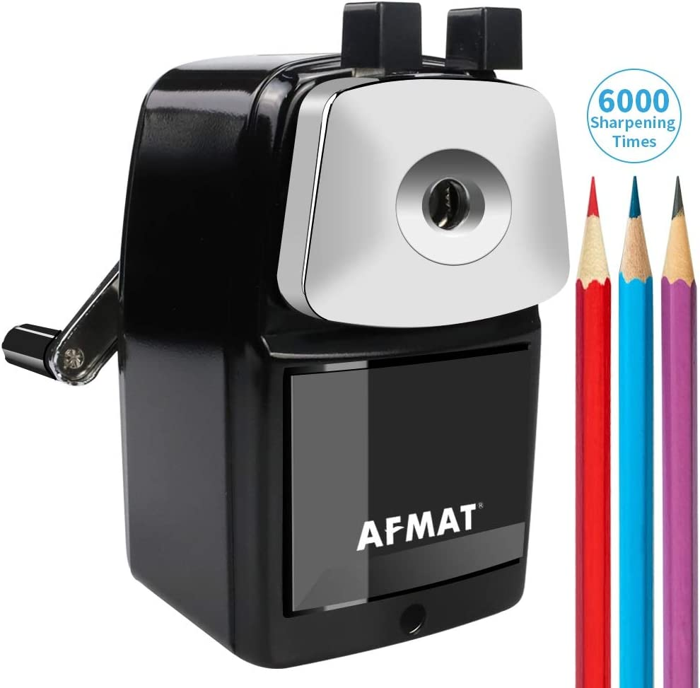 AFMAT Pencil Sharpener Manual, Metal School Pencil Sharpener, Heavy Duty Pencil Sharpener for Classroom, Sharpen 6000 Times, Helical Steel Blade, Not Easy to Break, for School/Home/Office, Black