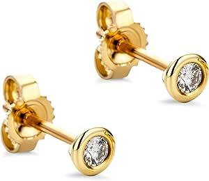 Orovi Juego de pendientes de diamante para mujer, oro amarillo de 14 quilates (585), brillantes de 0,10 quilates, hechos a mano en Italia