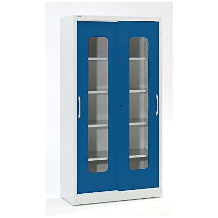 Mauser Cabinet Glass Sliding Door Wardrobe With 4 Shelves H 1950 X