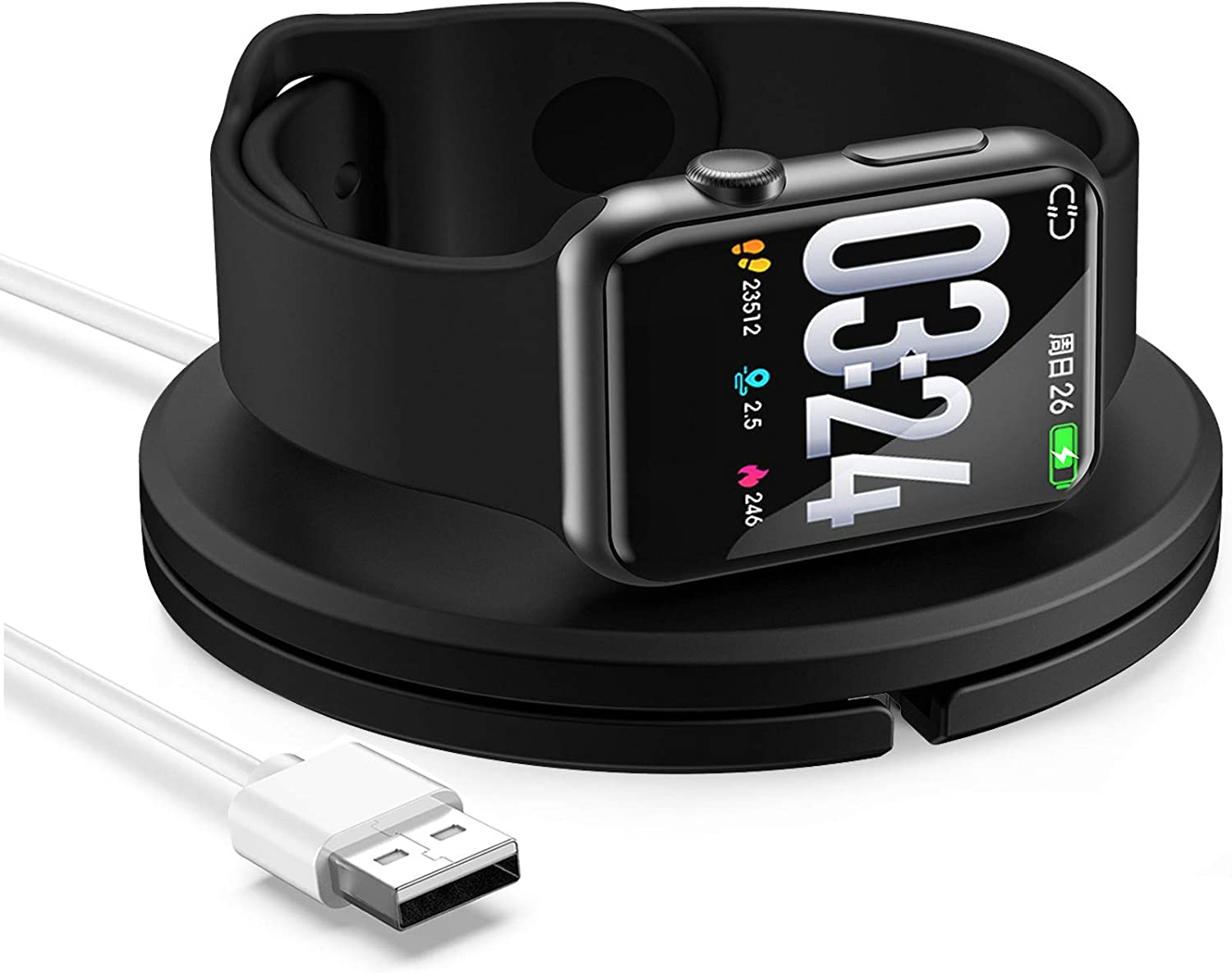 [Upgraded] Watch Charger for Apple Watch Series 6/5/4/3/2/1, Travel Stand Charger with Magnetic Charging Cable(3.1ft), Cable Organizer, Night Stand Mode Supported- Black