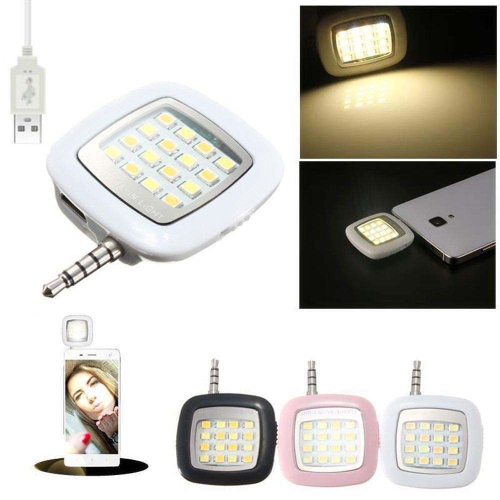 Mini LED Selfie Flash Lights for Smartphone Camera Photograph Lamp USB Charge Selfie Light Torch (White) by maxgoods (Image #2)