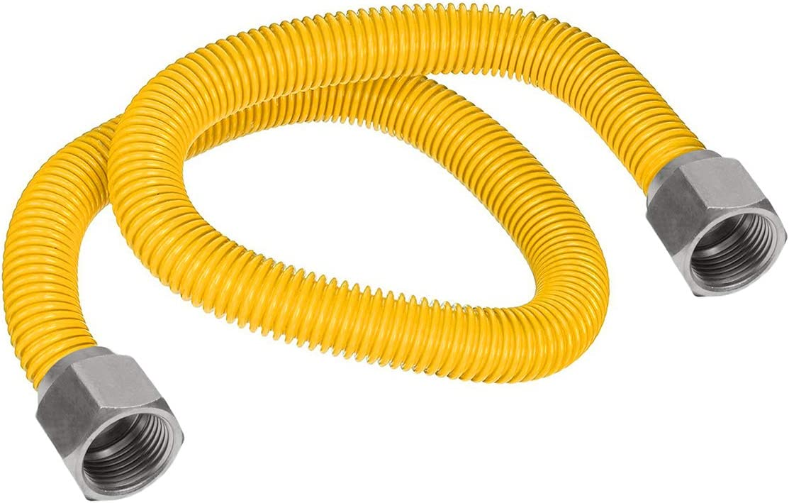 "Flextron FTGC-YC38-48 46"" Flexible Epoxy Coated Gas Line Connector with 1/2"" Outer Diameter and Nut Fittings, Yellow/Stainless Steel"