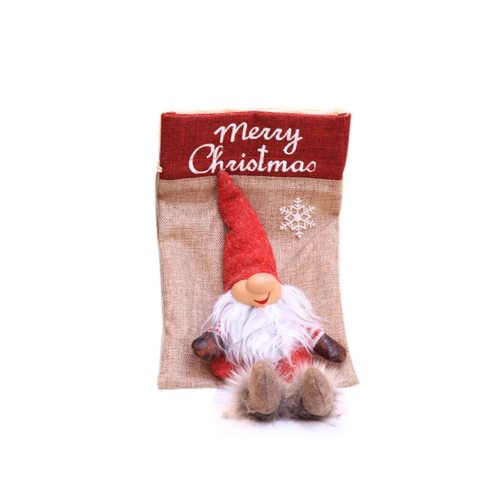 certainPL クリスマスギフトバッグ 小さな布製キャンディバッグ クリスマスオーナメント  レッド B07JLSFZPR
