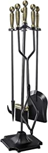 WBHome Fireplace Tools Set 5 Pieces Wrought Iron Fireset Fire Pit Poker Wood Stove Log Tongs Holder Fireplace Tool Set With Pedestal Place, 32 Inch (Brass Handle)
