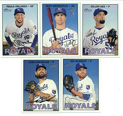 2016 Topps Heritage High Number Kansas City Royals Team Set of 5 Cards in a Sealed Team Bag which includes: Ian Kennedy(#549), Luke Hochevar(#609), Paulo Orlando(#662), Whit Merrifield(#683), Dillon - In Orlando Sports Shops