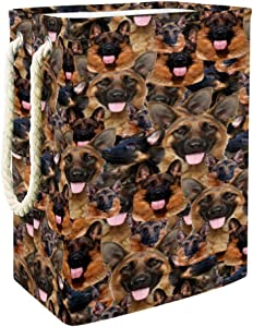 Livehome German Shepherd Laundry Hamper Basket for Laundry Storage Baskets Built-in Lining with Detachable Brackets Foldable Laundry Hamper for Toys Clothing Organization
