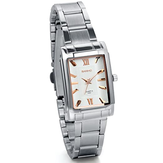 Amazon.com: JewelryWe Womens Classic Square Quartz Wristwatch Silver Stainless Steel Bracelet Watch: Watches