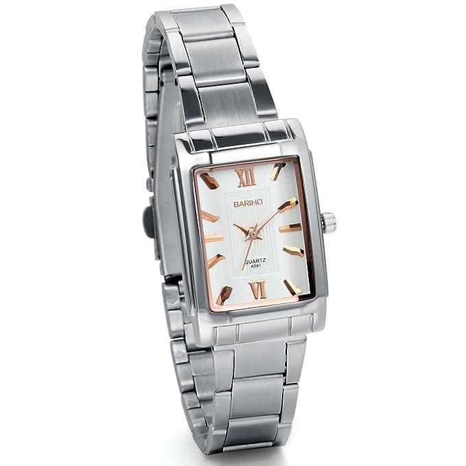 Amazon.com: JewelryWe Womens Classic Square Quartz Wristwatch Silver Stainless Steel Bracelet Watch: Watches