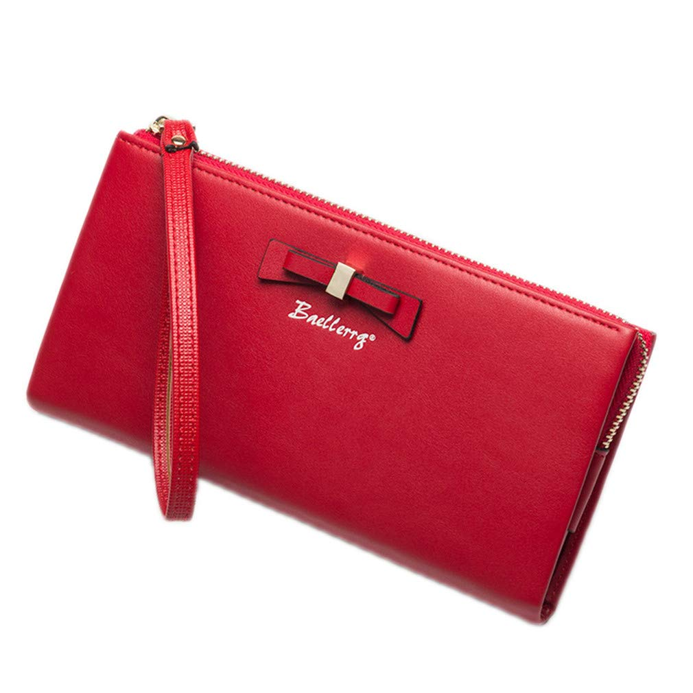 Women Wallets Soft Oil Wax Leather Zipper Ladies Clutch Purse Big Bow Long Card Holder Phone Bag