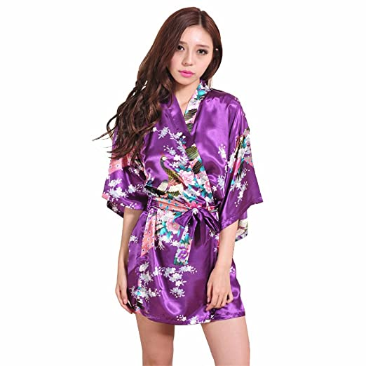 Blala Purple Female Printed Floral Kimono Dress Gown Chinese Style Silk Satin Robe Nightgown Flower S M L