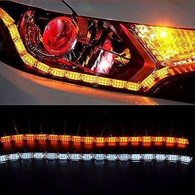 Powstro Car LED Strip Lights Headlight, 2pcs 50cm-69cm Flexible Car LED White/Amber DRL Flowing Turn Singal Light Strip Fog Lamp Lights Headlight 12-24V